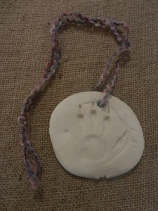 Raccoon Track Clay Necklace or Ornament