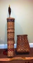 split rattan basket with natural dye pieces
