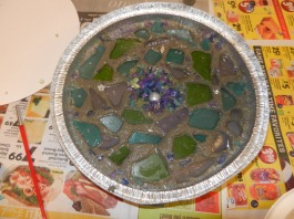 Garden Stepping Stone with Wet Cement