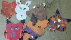 Cardboard Animal Masks with Natural Elements (4)