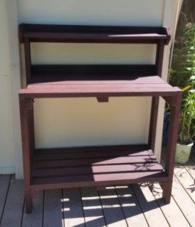 Garden work Benches made with recycled lumber and stained brown. Eagle Project