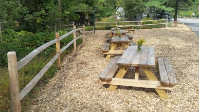 Split Rail Fence and Picnic Tables