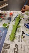 Painted Plaster Alligator