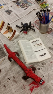 Painted Plaster Red-back Salamander and Waterboatman