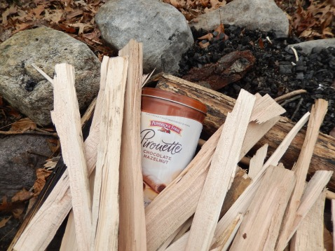 Tin of collected wood sticks ready to roast