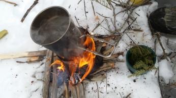 Boiling on a home made twig stove to make Hemlock Tree Tea
