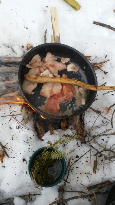 Perch Fish Tacos on Twig Stove while Icefishing