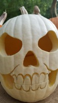 White Pumpkin Skull carved by Thomas Gonzales