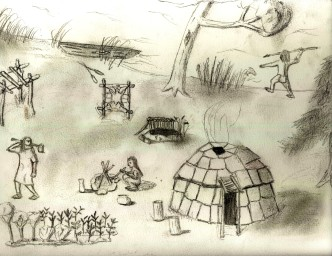 Lenape Village Sketch