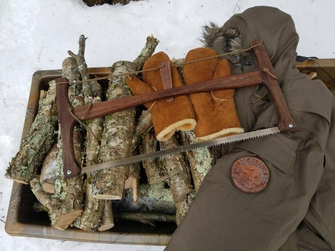 Adventuresworn bushcraft company bucksaw and egli mitts