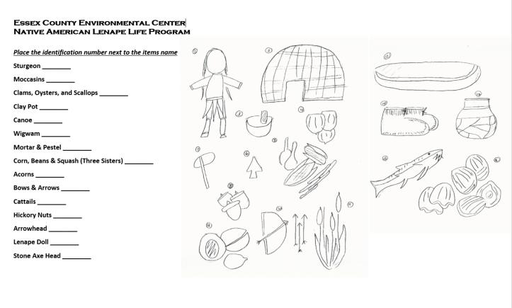 Lenape Artifact Identification Worksheet